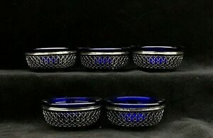 Webster Sterling Silver Pierced Salt Cellars Cobalt Blue Glass Inserts Set Of 5
