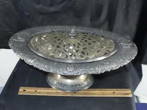 Antique Victorian Derby Silver Plate Repousee Ornate Tureen W Pierced Lid