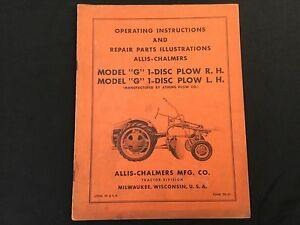 Allis Chalmers G 1 Disc Plow R h l h Operating Manual