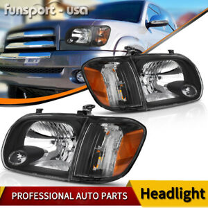 For 2005 2006 Toyota Tundra 05 07 Sequoia Headlights Headlamps corner Lamps Pair
