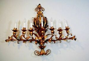 Vintage 45 Hollywood Regency Italy Gold Gilt Tole Metal 7 Light Wall Sconce
