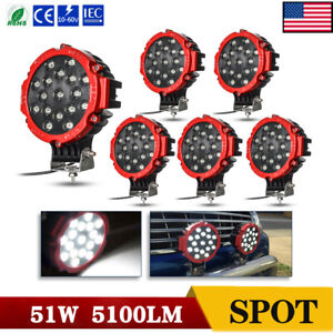 6x 51w 7inch Led Work Light Flood Driving For Jeep Tractor Atv Forklift Off Road