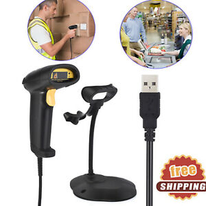 Handheld Continuous Usb Laser Barcode Scanner Gun Pos Bar Code Reader With Stand
