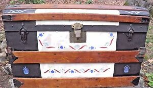 Antique Oak Slat Dome Top Wood Leather Trunk 19th Century Metal Bottom Hardware