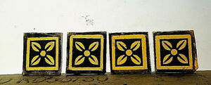 Stained Glass Kiln Fired Amber Painted Squares Pieces X 4