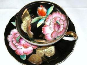 Tea Cup And Saucer 3 Footed Hand Painted Flower Raised Beaded Black Teacup