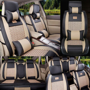5 seat Car Seat Covers Cooling Mesh pu Leather Front rear Full Set All Seasons