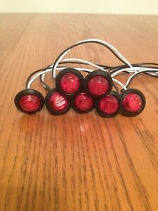 3 4 Round Red Led Lights Truck Trailer Marker Clearance Lights Qty 7