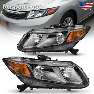 For 2012 2015 Honda Civic Black Housing Headlights Headlamps Assembly Left right