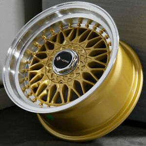 15x8 Gold Wheels Vors Vr3 4x100 4x114 3 20 Set Of 4