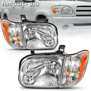 For 2005 2006 Toyota Tundra 05 07 Sequoia Chrome Headlights Headlamps Left Right