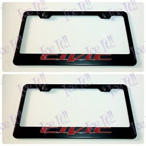 2x 3d Civic Red Black Stainless Steel License Plate Frame W Caps