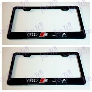 2x 3d Audi Quattro S line Black Stainless Steel License Plate Frame W Caps