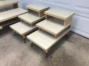 Pair Vintage Laminated Step Style End Table Side Tables Mid Century Modern