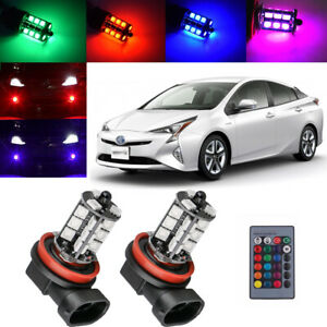 For Toyota Prius 2010 2018 Wireless Ir Remote Multi Color Rgb Led Fog Light 2x