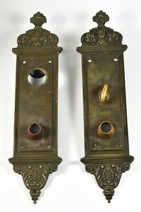 Pair Of Heavy Victorian Antique Yale And Towne Cast Brass Entry Door Plates