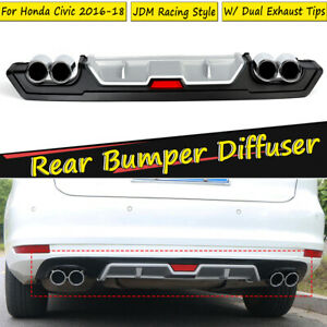 For 2016 2019 Honda Civic Rear Bumper Diffuser With Dual Exhaust Tip Decor