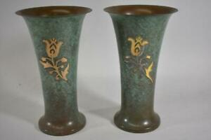 Pair Silver Crest Vintage Arts And Crafts Vase Green Excellent Condition
