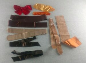Lot Antique French Silk Velvet Ribbon Orange Yellow Brown Harvest Colors