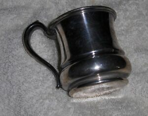 Antique Vtg Silver Soldered Drinking Cup Nickel Silver Hotel Silver Plated Mug