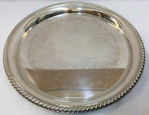 Silverplate Tray 12 Round Ornate Scrolling International Silver Co Vintage