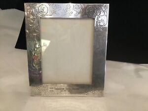 Rare Authentic Signed Aucello Sterling Silver Etched Baby Picture Frame No Res
