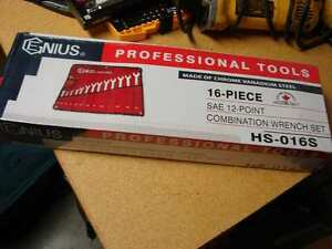Genius Tools 16 Piece Sae Combination Wrench Set Hs 016s