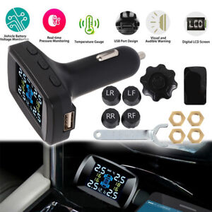 Car Wireless Tpms Tyre Tire Pressure Monitor System 4 Sensors Lcd Display