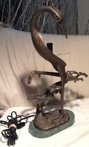 Great Vintage Bronze Brass Crane Heron Table Lamp 17 Stone Base Signed Tin Chi