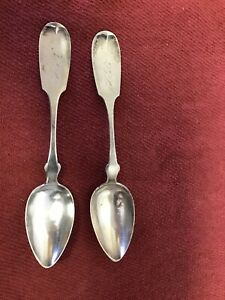 Two Antique F Williams Coin Silver Table Spoons