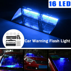 Car 16 Led Blue Police Strobe Flash Light Dash Emergency Flashing Warning