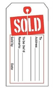 Price Tags 1000 Slit Sold 2 X 4 H Red White Retail Store Merchandise