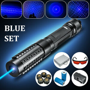 445nm Blue Beam Laser Pointer Military Focus Pen 5 Cap box charger goggles 0 5mw