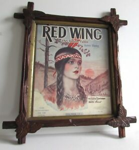 Antique Tramp Folk Art Adirondack Frame 17x15 Carved Red Wind An Indian Fable