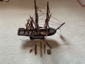 Antique Vintage Wooden Model Sailboat Ship Shipwrecked For Parts Or Repair