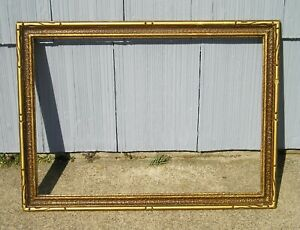 Vintage Art Crafts Mission Textured Surface Gold Edge Picture Frame 15 X 21 1 4