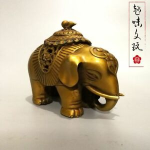 Old China Bronze Elephant Gourd Lid Indoor Decoration Incense Burners