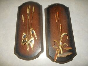 2 Mid Century Modern Wall Art Brass Metal Cat Tails Plaque Vtg Retro Pair Brown