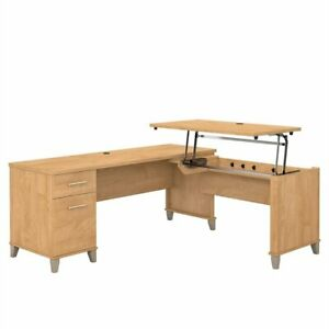 Somerset 72w 3 Position Sit To Stand L Shaped Desk In Maple Cross