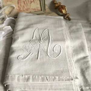 Antique Cotton Linen Sheet White Embroidered Monogram M French Bedding Decor