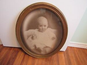 Vintage Large Gold Oval Wood Picture Frame W Baby Portrait Photograh 22 X 18