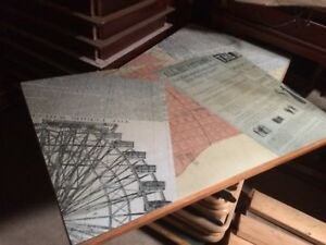 Vintage Print Style 48 X 30 Commercial Restaurant Table Tops With Bases