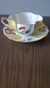 Vintage Merit Hand Painted Yellow Raised Floral Tea Cup Saucer Occupied Japan