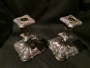 Poole Silver Old English Floral Repousse 3 Tier Candlesticks Great Patina