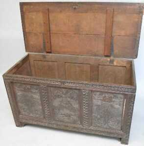 18th C Carved Colonial Oak Chest Trunk Blanket Box English Great Coffee Table