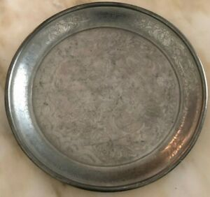 Old Antique Large Chinese Pewter Engraved Dragon Kut Hing Swatow Plate Marked