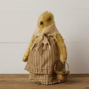 New Primitive Folk Art Grungy Chick Chicken Hen Doll With Easter Egg Basket 10