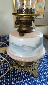 Vintage Antique Painted Gone With The Wind Electrified Oil Lamp Base Blue And W