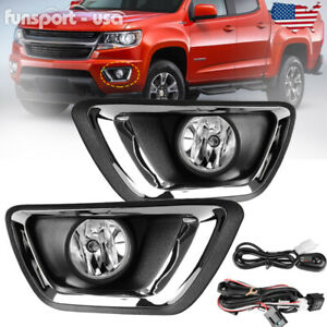 For 2015 2018 Chevy Colorado Clear Bumper Fog Lights Lamps W Wiring Switch Pair