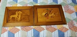 2 Vintage Framed Wood Marquetry Inlay Picture Garden Musical Naked Woman Goats